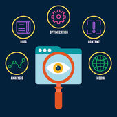 Search engine optimization is the process of affecting the visibility of a website. Symbols with keywords — Stock Vector