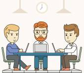 Business meeting in shared working environment. People working at the computers in the workspace — Stock Vector