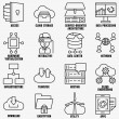 Set of vector linear cloud computing icons — Stock Vector #72894283