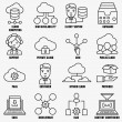 Set of vector linear cloud computing icons - part 1 — Stock Vector #72894307