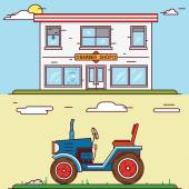 Vector linear flat construct your village - barber shop and tractor  — Stock Vector