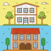 Vector linear flat houses. Design elements for construct or infographics — Stock Vector