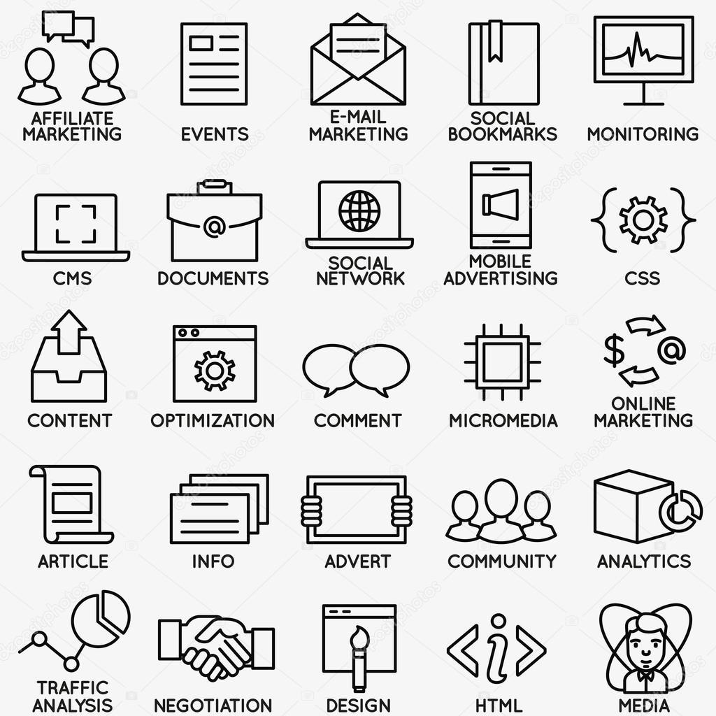 一套seo 和互联网服务图标-第