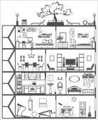 House interior silhouette. Vector illustration — Stock Vector