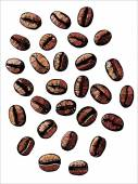Roasted coffee beans, vector illustration — Wektor stockowy