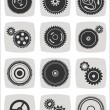Gearwheel mechanism icon set — Stock Vector #57309539