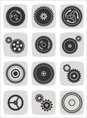 Gearwheel mechanism icon set — ストックベクタ