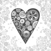 Gearwheel heart-shaped mechanism background — Vetorial Stock