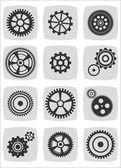 Gearwheel mechanism icon set, vector illustration — Stock Vector