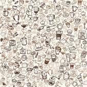 Vector doodle coffee and tea seamless background — Stock Vector