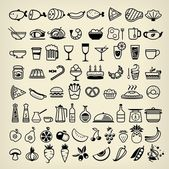 Black food icons on white — Stock Vector