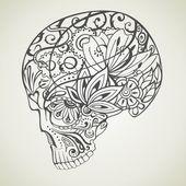 çiçek vektör kafatası — Stok Vektör