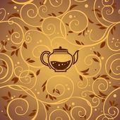 Vector template with tea kettle — Stock Vector