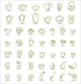 Cups and teapots doodles — Vector de stock