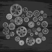 Scribbled cogwheels and gears — Stock Vector