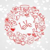 Love and hearts doodles — Stock Vector