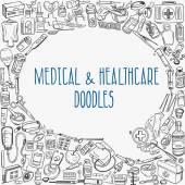Medicine doodle background — Stock Vector
