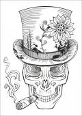 Day of the dead, baron samedi drawing — Stock Vector