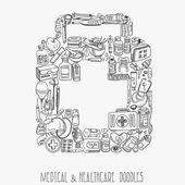 Tıp doodle arka plan — Stok Vektör