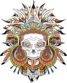 Aztec indian Skull — Stock Vector