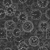 矢量涂鸦时钟,无缝背景 — 图库矢量图片