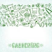 Hand drawn garden icons background — Stock Vector