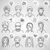Unrecognizable people faces — Stock Vector