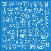 Health care and medicine doodle icon set — Stock Vector
