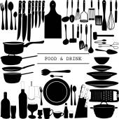 Food and Drink kitchen utensils isolated - vector — Stock Vector