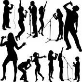 Singers silhouett — Stock Vector