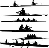 Rowing collection silhouettes — Stock Vector