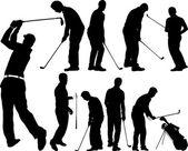 Silhuetas de jogadores de golfe — Vetor de Stock