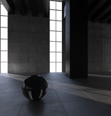 Dark blank interior scene concrete wall — Stock Photo