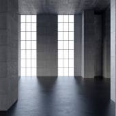 Dark blank interior scene concrete wall — Stock Photo