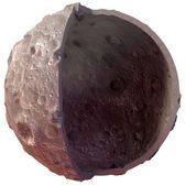 Moon on a white background. Lunar craters and bumps. 3D image of the full moon. Isolated — Stock Photo