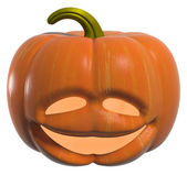 Scary Jack O Lantern halloween pumpkin with candle light inside — Stock Photo