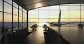 Modern airport passenger terminal — Stock Photo