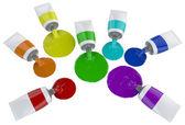 Colorful splashes of paint isolated on white — Zdjęcie stockowe