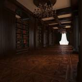 3d rendering. Classical Reading room — Photo