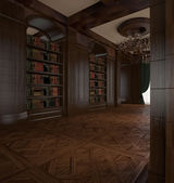 3d rendering. Classical Reading room — Foto Stock