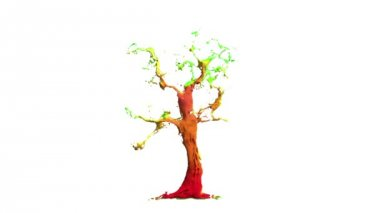 Abstract Beautiful broadleaf tree growing by colorful liquid stream with orange fruits isolated on white background. Convenient for multimedia use. Symbol of growth, ecology, environmental care. — Stock Video