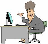 Irate woman sitting at a desk — Stock Photo