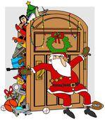 Santa's stuffed closet — Stock Photo