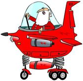 Santa piloting a starship — Stock Photo