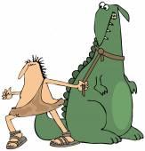 Caveman pulling on a dinosaur — Stock Photo