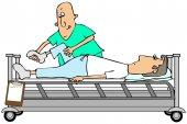 Therapist bending a patients knee — Stock Photo