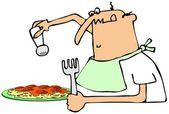 Man salting his spaghetti dinner — Stock Photo