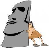 Caveman moving monolith — Stock Photo