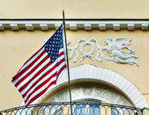 American flag  in old building — Stock Photo
