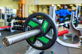 Barbell holder in gym — Stock Photo